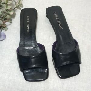 Giorgio Armani Black Leather Sandal Women's 36